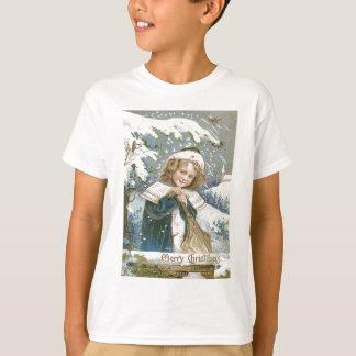Cute Little Girl Snow Tree Church T-Shirt