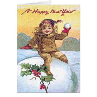 Cute Little Girl Snowball Holly Snow Card