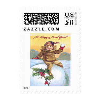 Cute Little Girl Snowball Holly Snow Postage