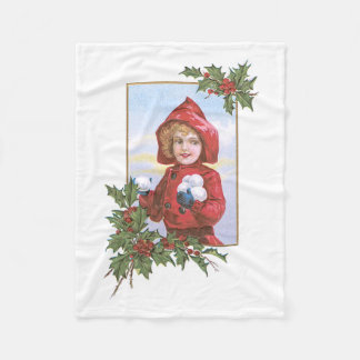 Cute Little Girl Snowballs Holly Fleece Blanket