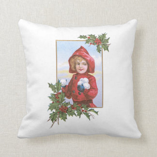 Cute Little Girl Snowballs Holly Throw Pillow