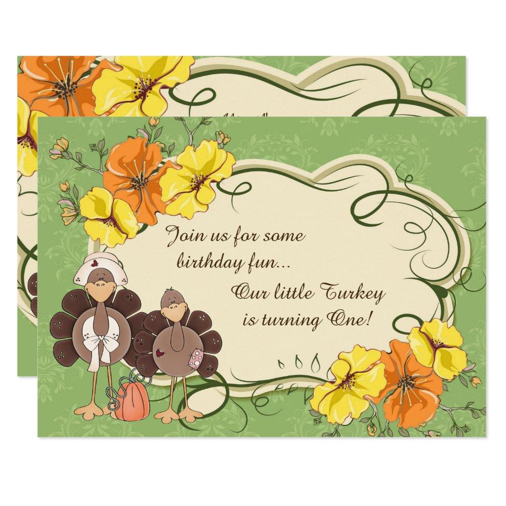 Cute Little Girl Turkey Thanksgiving 1st Birthday Card