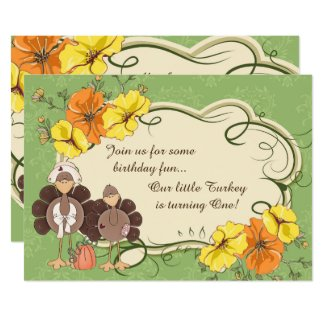 Cute Little Girl Turkey Thanksgiving 1st Birthday Card