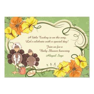 Cute Little Girl Turkey Thanksgiving Baby Shower 5x7 Paper Invitation Card
