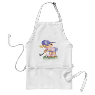 Cute Little girl wearing a blue hat playing golf Adult Apron