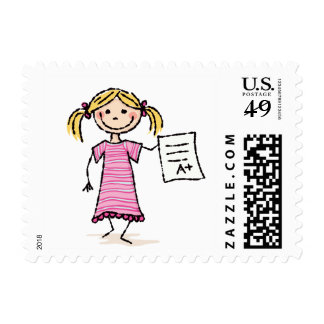 Cute little girl with A plus grade Stamp