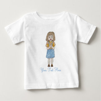 Cute little girl with brown hair and blue skirt baby T-Shirt