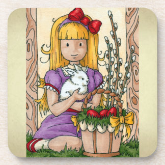 Cute Little Girl with Easter Bunny Coaster