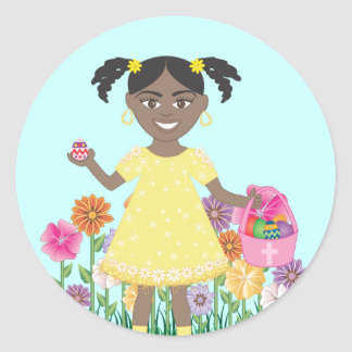 cute little girl with Easter Eggs and Basket Classic Round Sticker