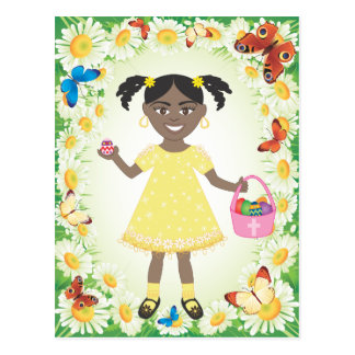 cute little girl with Easter Eggs and Basket Postcard