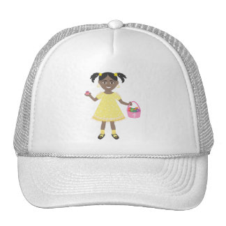 cute little girl with Easter Eggs and Basket Trucker Hat