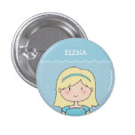 Cute Little Girl with Name (Customizable) -- BLUE Pinback Button