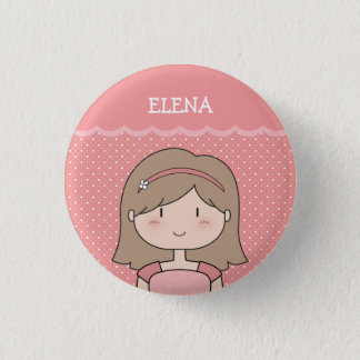 Cute Little Girl with Name (Customizable) -- PINK Button