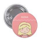 Cute Little Girl with Name (Customizable) -- PINK Pins