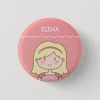 Cute Little Girl with Name (Customizable) -- PINK Pinback Button