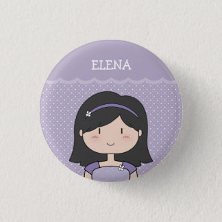 Cute Little Girl with Name (Customizable) --PURPLE Button