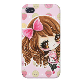 Cute little girl with pink big bow cover for iPhone 4