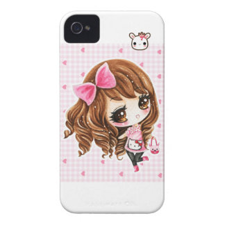 Cute little girl with pink big bow iPhone 4 case