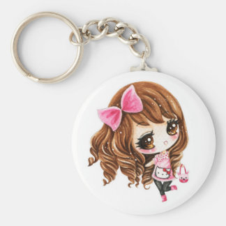 Cute little girl with pink big bow keychain