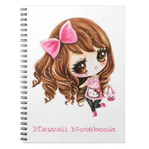 Cute little girl with pink big bow notebook
