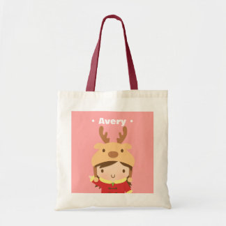 Cute Little Girl with Reindeer Hat and Red Jacket Tote Bag