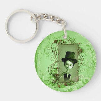 Cute little girl with steampunk hat keychain