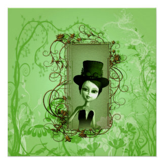 Cute little girl with steampunk hat poster