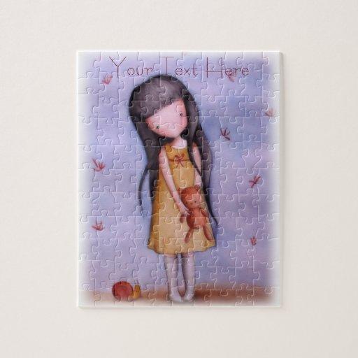 Cute Little Girl with Teddy Bear Puzzle