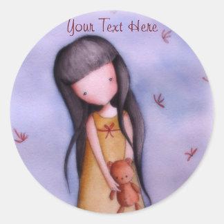 Cute Little Girl with Teddy Bear Stickers