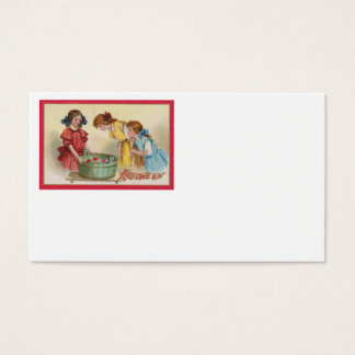 Cute Little Girls Bobbing For Apples Business Card