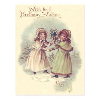 Cute Little Girls Evergreen Mistletoe Postcard