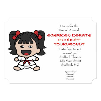 Cute Little Girls Karate Tournament Invitation