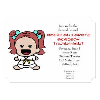 Cute Little Girls Karate Tournament Invitation