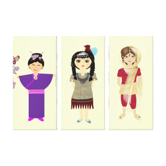 Cute little Girl's Set of Canvas Picture Prints