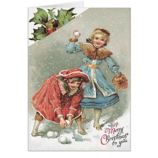 Cute Little Girls Snowball Fight Card