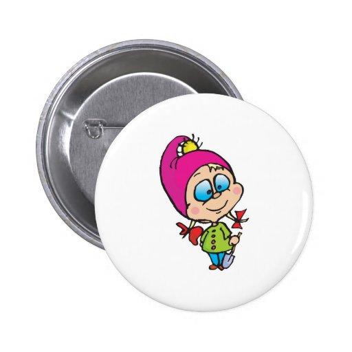cute little gnome pinback button