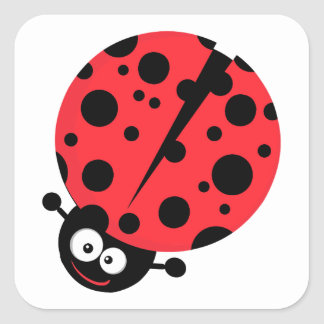 cute little goofy ladybug with lots of spots square sticker