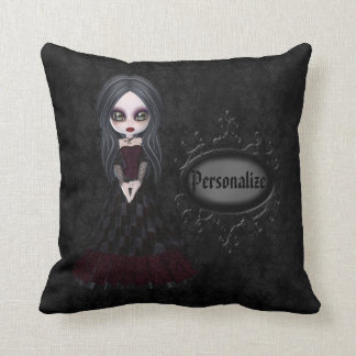 Cute Little Goth Girl Black Personalized Pillow