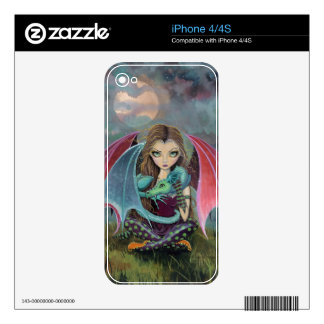 Cute Little Gothic Fairy and Dragon iPhone Skin iPhone 4 Decal