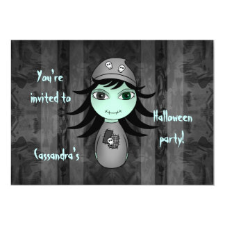 Cute little gothic zombie girl for Halloween Card