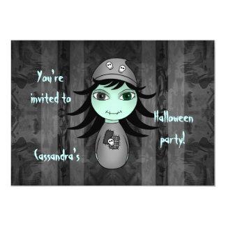 Cute little gothic zombie girl for Halloween Custom Invitations