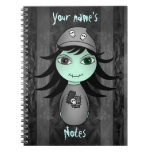 Cute little gothic zombie girl for Halloween Note Books