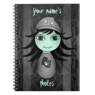 Cute little gothic zombie girl for Halloween Notebook