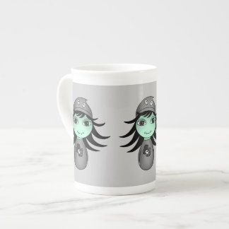 Cute little gothic zombie girl for Halloween Tea Cup