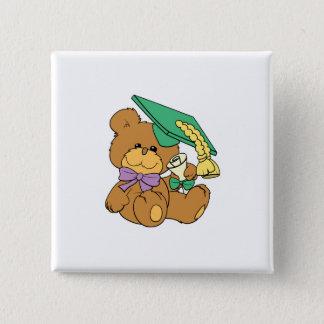 Cute little graduate graduation teddy bear design button