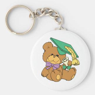 Cute little graduate graduation teddy bear design keychain