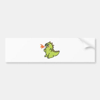 cute little green fire dragon monster car bumper sticker