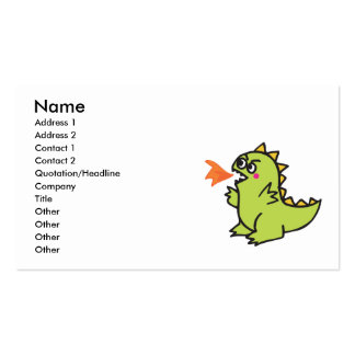 cute little green fire dragon monster Double-Sided standard business cards (Pack of 100)