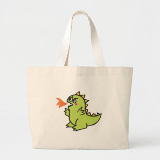 cute little green fire dragon monster large tote bag