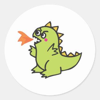 cute little green fire dragon monster classic round sticker